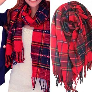 Cozy RED Oversized PLAID Woman's Scarf ❤️